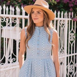 Quinn Embroidered Chambray Fit & Flare Dre…